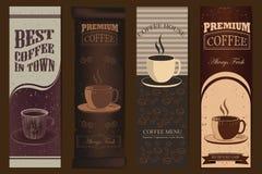 Weinlese-Kaffeefahnen Lizenzfreie Stockbilder