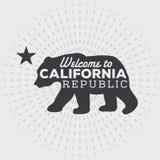 Weinlese-Kalifornien-Republikbär mit Sonnendurchbrüchen Stockfotografie