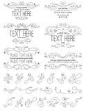 Weinlese-Kalligraphie-Blumen-Gestaltungselemente Lizenzfreie Stockbilder