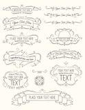 Weinlese-Kalligraphie-Elemente sieben Stockfotos