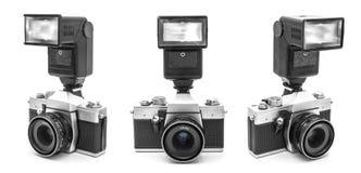 Weinlese-Kamera mit Blitz Stockbild
