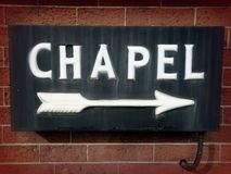 Weinlese-Kapellen-Zeichen Stockbild