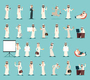 Weinlese-Karikatur-Design-Vektorillustration arabischer Geschäftsmann-Character Icons Sets Retro- Stockfotos