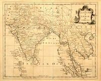 Weinlese-Karte von Indien und von SE Asien. Lizenzfreie Stockbilder