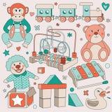 Weinlese-Kinderspielwaren-Vektor-gesetzte Illustrationen - Becken-schlagender Affe, hölzerner Zug, Teddy Bear, Achterbahn, Clown  Stockfotos