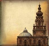 Weinlese-Kirche-Hintergrund Lizenzfreie Stockfotografie