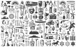 Weinlese-Leute-Beruf-Element-Satz stockfotos
