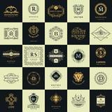 Weinlese-Logo-Design-Schablonen eingestellt Firmenzeichenelemente Sammlung, Ikonen-Symbole, Retro- Aufkleber, Ausweise, Schattenb Lizenzfreies Stockfoto