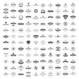 Weinlese-Logo-Design-Schablonen eingestellt Vektorfirmenzeichen-Elementsammlung Stockfotografie