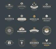 Weinlese-Logo-Design-Schablonen eingestellt Vektorgestaltungselemente, Logo Elements Lizenzfreies Stockbild