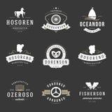 Weinlese-Logo-Design-Schablonen eingestellt Vektorgestaltungselemente, Logo Elements Stockfotografie