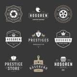 Weinlese-Logo-Design-Schablonen eingestellt Vektorgestaltungselemente, Logo Elements Stockbild