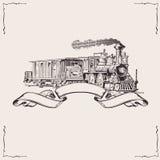 Weinlese-Lokomotive-Fahne. Stockfotografie