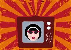 Weinlese-Mädchen in Fernsehapparat Stockfoto