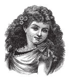 Weinlese-Mädchen oder Frau mit Blumen in ihrem Haar lizenzfreie abbildung