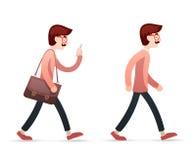 Weinlese-männliche Aussenseiter-Hippie-Ingenieur-Character Walk Mobile-Telefon-Taschen-Kasten-Ikone auf stilvoller Hintergrund-Re Stockbild