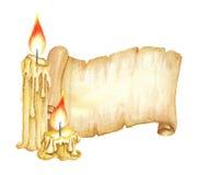 Weinlese-Manuskript-Rolle, brennende Kerzen Dekoratives Bild einer Flugwesenschwalbe ein Blatt Papier in seinem Schnabel Lizenzfreies Stockbild