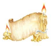 Weinlese-Manuskript-Rolle, brennende Kerzen Dekoratives Bild einer Flugwesenschwalbe ein Blatt Papier in seinem Schnabel Stockbilder