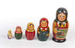 Weinlese matryoshkas Stockfotos