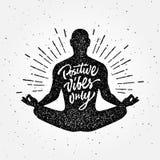Weinlese-Meditationskleiderdruck-T-Shirt Design Lizenzfreies Stockfoto