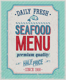 Weinlese-Meeresfrüchte-Plakat. Stockfotografie