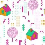 Weinlese-Memphis Style Geometric Fashion Seamless-Muster mit Häusern Zusammenfassung formt Hintergrund für Gewebe vektor abbildung