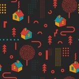 Weinlese-Memphis Style Geometric Fashion Seamless-Muster mit Häusern Zusammenfassung formt Hintergrund für Gewebe lizenzfreie abbildung