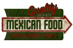 Weinlese-mexikanische Lebensmittel-Zeichen-Tacos Burritos Tortas-Nachos lizenzfreie stockfotos