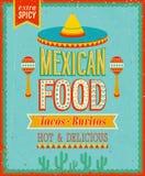 Weinlese-mexikanisches Lebensmittel-Plakat. Lizenzfreies Stockfoto