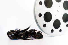 Weinlese 35 Millimeter-Filmkinospule auf Weiß Stockfoto
