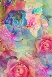 Weinlese mit Blumen, romantischer Hintergrund Stockbild