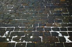 Weinlese-Moskau-Ziegelsteinstein-Pflasterungshintergrund Stockfotografie