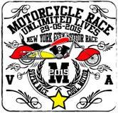 Weinlese-Motorrad-Rennhandzeichnung T-Shirt Drucken Lizenzfreie Abbildung