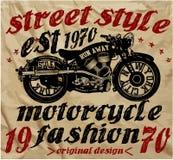 Weinlese-Motorrad-Rennhandzeichnung T-Shirt Drucken Stock Abbildung