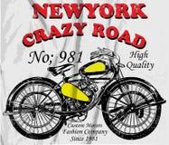 Weinlese-Motorrad-T-Shirt Grafik Lizenzfreie Stockfotografie