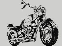 Weinlese-Motorrad-Vektor-Schattenbild Stockfotografie