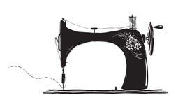 Weinlese-Nähmaschine-tintige Illustration Stockfoto