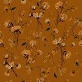 Weinlese-nahtlose Musterwind-Schlagblumen, lokalisiert auf Retro- c Lizenzfreies Stockbild