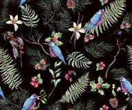 Weinlese-nahtloser mit Blumenhintergrund mit Fern Leaves lizenzfreie abbildung