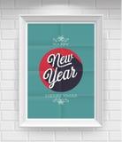 Weinlese-neues Jahr-Plakat. Lizenzfreies Stockfoto