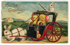 Weinlese-Ostern-Gruß-Postkarte Stockfotos