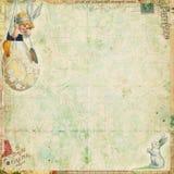 Weinlese-Ostern-Hintergrund mit Kaninchen und Ei Lizenzfreies Stockfoto
