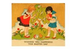 Weinlese-Ostern-Karte Stockbild