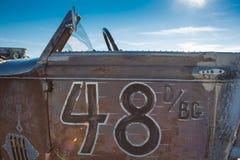 Weinlese Packard-Rennwagen während der Welt von Geschwindigkeit 2012. Stockfotografie