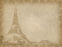 Weinlese-Papier mit Eiffel stockbild