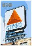 Weinlese-Plakat von Boston und von berühmten Citgo-Zeichen lizenzfreie stockfotografie