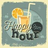 Weinlese-Plakat-Zeichen-Design des glückliche Stunden-New Age-50s mit einem Glas Stockfotografie