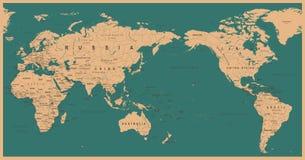 Weinlese-politische Weltkarte Pazifik zentrierte stock abbildung