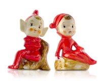 Weinlese-Porzellan-Weihnachtsel Lizenzfreies Stockbild