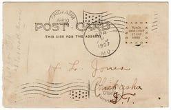 Weinlese-Postkarte-Dreiergruppen-Poststempel-Inder-Gegend Lizenzfreie Stockfotos